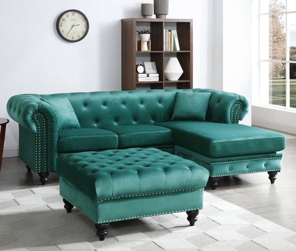 Glory Furniture Nola Green Velvet Sectional with Ottoman GLRY-G0352-LR-S3