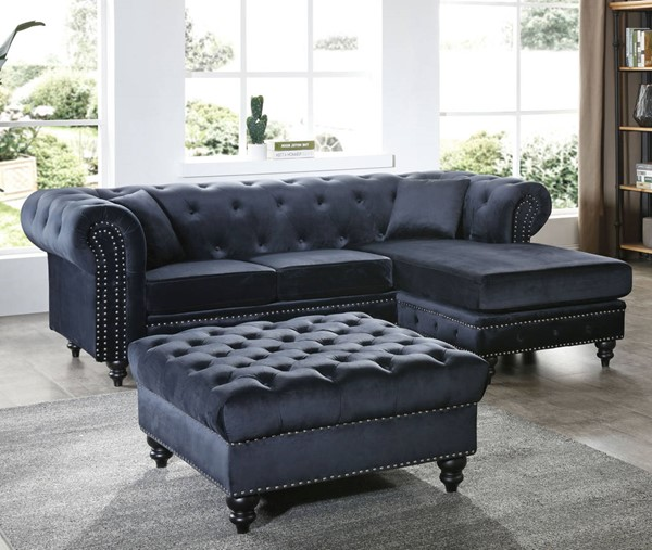 Glory Furniture Nola Black Velvet Sectional with Ottoman GLRY-G0353-LR-S4