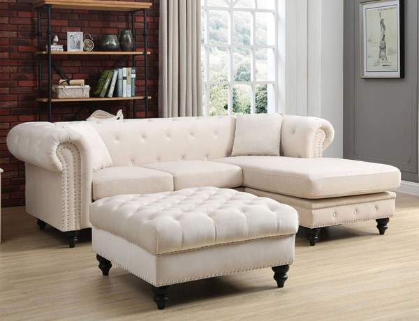 Glory Furniture Nola Ivory Velvet Sectional with Ottoman GLRY-G0357-LR-S6