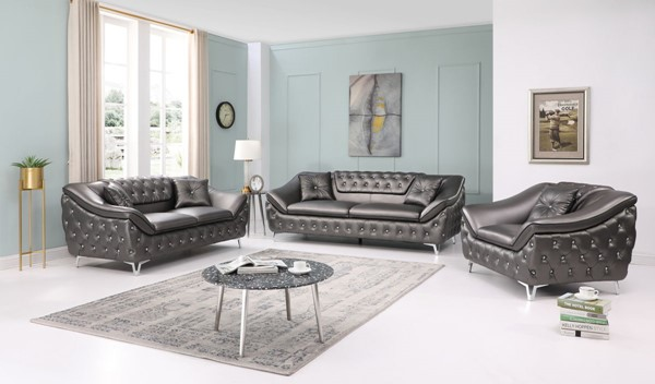 Glory Furniture Bailey Metallic Silver 3pc Living Room Set GLRY-G0360A-LR-S1