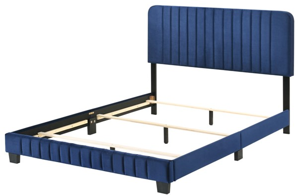 Glory Furniture Lodi Navy Blue Velvet Queen Bed GLRY-G0409-QB-UP