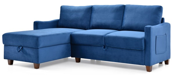 Glory Furniture Monica Navy Blue Velvet Sectional with Storage GLRY-G0421B-SC