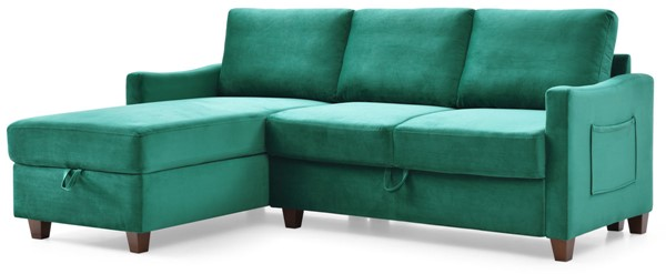 Glory Furniture Monica Green Velvet Sectional with Storage GLRY-G0422B-SC