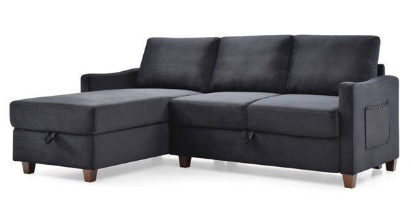 Glory Furniture Monica Black Velvet Sectional with Storage GLRY-G0423B-SC