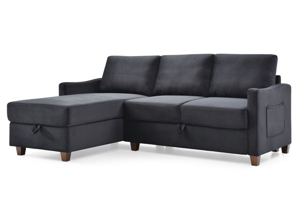 Glory Furniture Monica Black Sectional With Storage GLRY-G0423B-SC