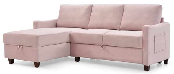 Glory Furniture Monica Pink Velvet Sectional with Storage GLRY-G0424B-SC