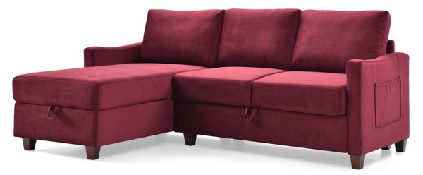 Glory Furniture Monica Burgundy Velvet Sectional with Storage GLRY-G0426B-SC