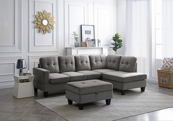 Glory Furniture Monaco Velvet Sectionals with Storage Ottoman GLRY-G0490B-SEC-S-VAR