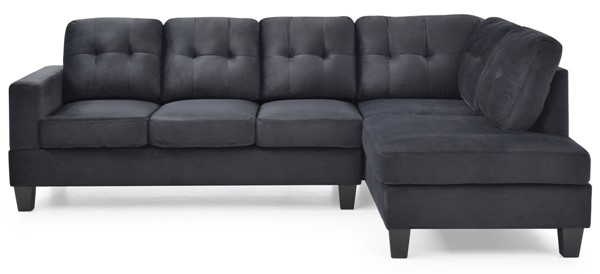 Glory Furniture Monaco Black Velvet Sectional GLRY-G0491B-SC