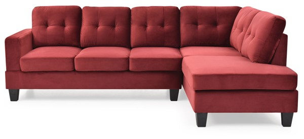Glory Furniture Monaco Burgundy Velvet Sectional GLRY-G0494B-SC