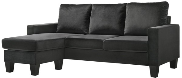 Glory Furniture Jessica Black Velvet Sofa Chaise GLRY-G0512-SCH