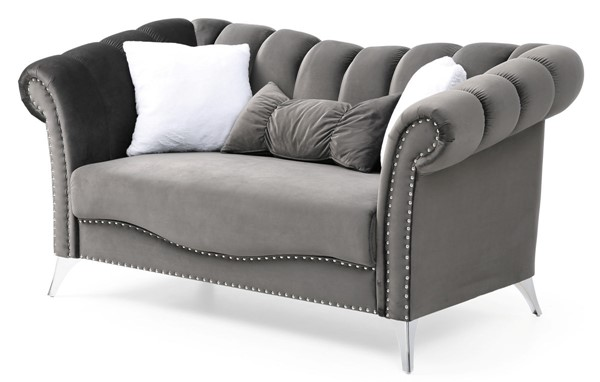 Glory Furniture Madrid Dark Gray Velvet Loveseat GLRY-G0540A-L