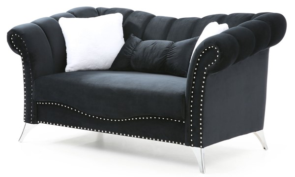 Glory Furniture Madrid Black Velvet Loveseat GLRY-G0541A-L