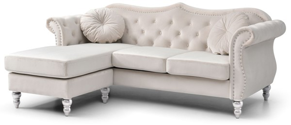 Glory Furniture Hollywood Ivory Sofa Chaise GLRY-G0667B-SC