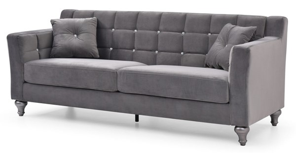 Glory Furniture Dublin Dark Gray Velvet Sofa GLRY-G0670A-S