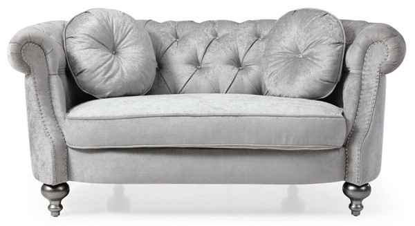 Glory Furniture Salerno Traditional Silver Gray Loveseat GLRY-G0740A-L