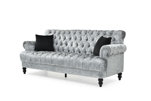 Glory Furniture Paris Silver Gray Tufted Sofa GLRY-G0890A-S