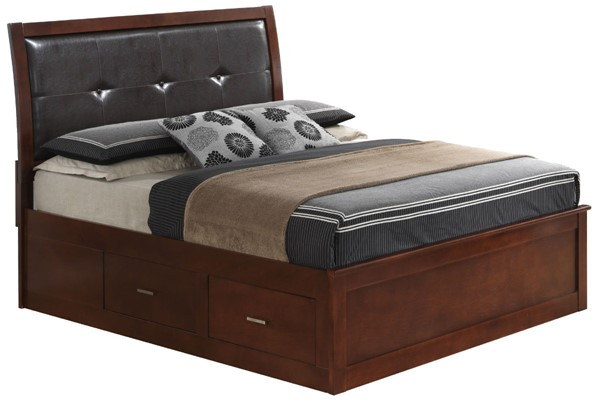 Glory Furniture Darden Contemporary Cherry Queen Storage Bed GLRY-G1200B-QSB