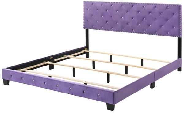 Glory Furniture Suffolk Transitional Purple King Bed GLRY-G1402-KB-UP