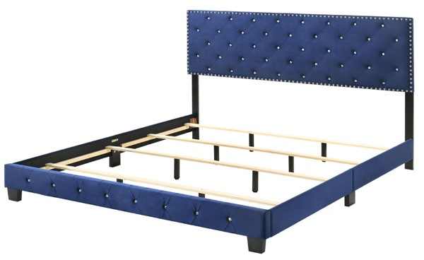 Glory Furniture Suffolk Navy Blue Velvet King Bed GLRY-G1405-KB-UP