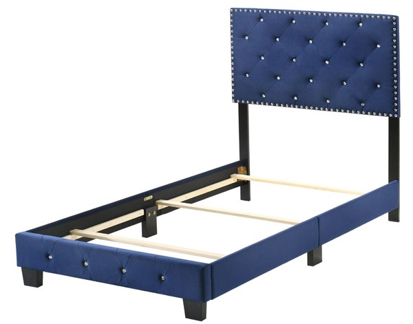 Glory Furniture Suffolk Navy Blue Velvet Twin Bed GLRY-G1405-TB-UP