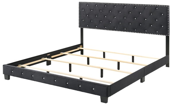 Glory Furniture Suffolk Black Velvet King Bed GLRY-G1407-KB-UP