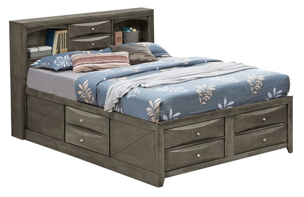 Glory Furniture Marilla Gray Queen Bookcase Storage Bed GLRY-G1505G-QSB3