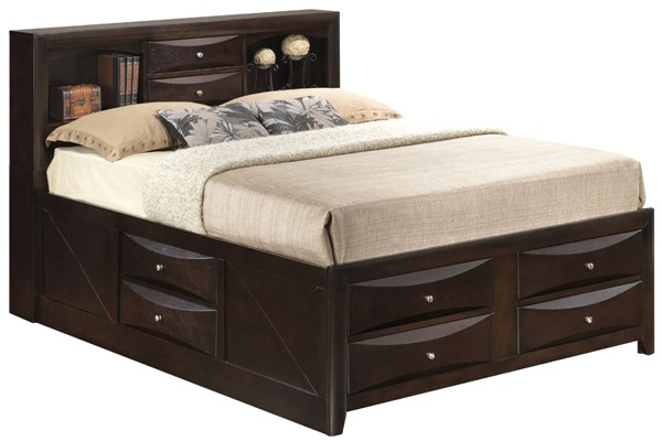 Glory Furniture Marilla Contemporary Cappuccino Queen Storage Bed GLRY-G1525G-QSB3