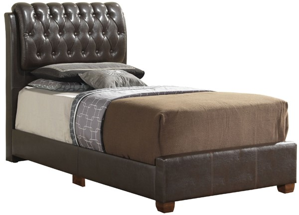 Glory Furniture Marilla Contemporary Brown Tufted Twin Bed GLRY-G1550C-TB-UP
