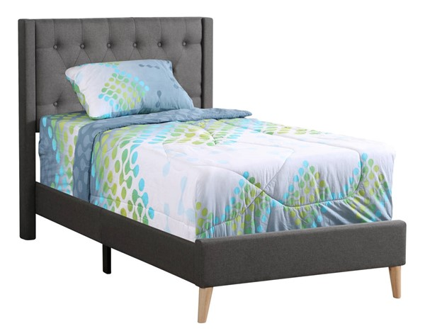 Glory Furniture Bergen Gray Fabric Twin Bed GLRY-G1622-TB-UP