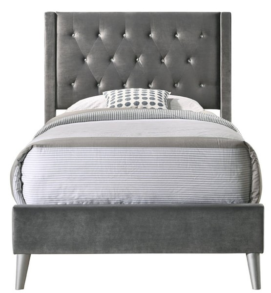 Glory Furniture Bergen Contemporary Gray Velvet Twin Bed GLRY-G1627-TB-UP