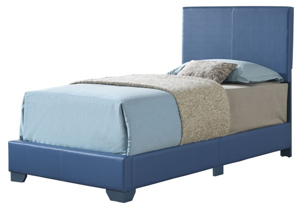 Glory Furniture Aaron Blue Faux Leather Twin Bed GLRY-G1835-TB-UP