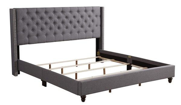 Glory Furniture Julie Gray Fabric King Upholstered Bed GLRY-G1904-KB-UP