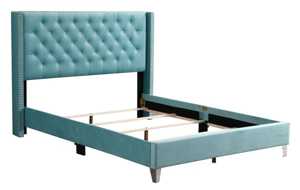 Glory Furniture Julie Ocean Blue Fabric Queen Upholstered Bed GLRY-G1923-QB-UP