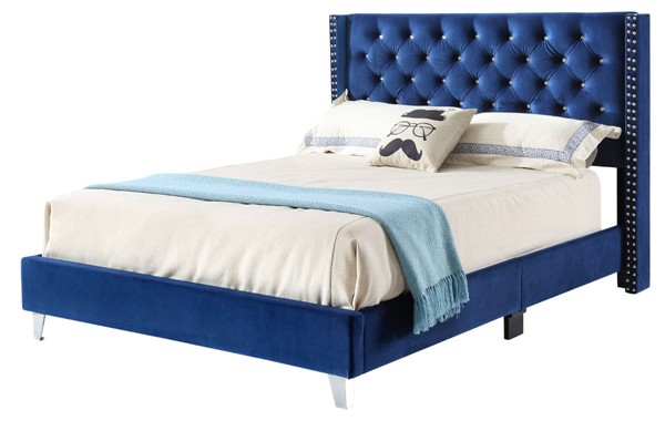 Glory Furniture Julie Transitional Navy Blue Queen Upholstered Bed GLRY-G1924-QB-UP