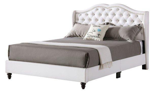 Glory Furniture Joy Transitional White Full Upholstered Bed GLRY-G1926-FB-UP