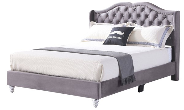 Glory Furniture Joy Gray Fabric Queen Upholstered Bed GLRY-G1931-QB-UP
