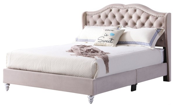 Glory Furniture Joy Transitional Beige Queen Upholstered Bed GLRY-G1935-QB-UP