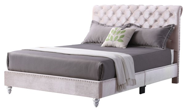 Glory Furniture Maxx Transitional Beige King Tufted Upholstered Bed GLRY-G1939-KB-UP