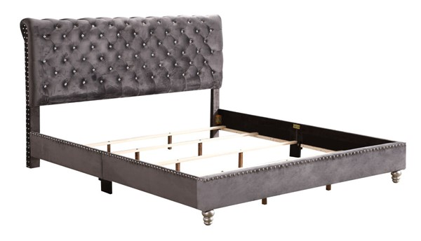 Glory Furniture Maxx Transitional Gray King Tufted Upholstered Bed GLRY-G1940-KB-UP