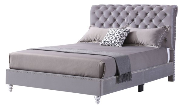 Glory Furniture Maxx Transitional Gray Queen Tufted Upholstered Bed GLRY-G1940-QB-UP