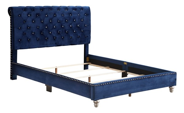 Glory Furniture Maxx Navy Blue Full Tufted Upholstered Bed GLRY-G1943-FB-UP