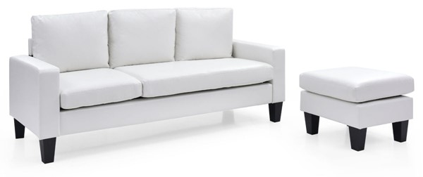 Glory Furniture Jenna Traditional White Sofa Chaise GLRY-G217-SCH