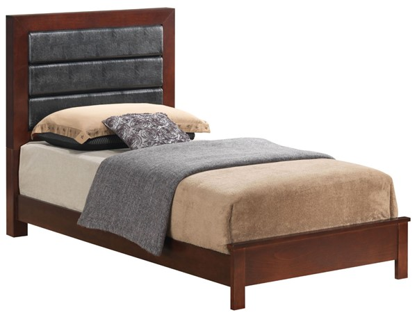 Glory Furniture Burlington Cherry Faux Leather Twin Bed GLRY-G2400A-TB