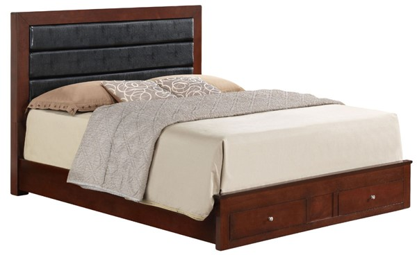 Glory Furniture Burlington Cherry Faux Leather King Storage Bed GLRY-G2400C-KSB