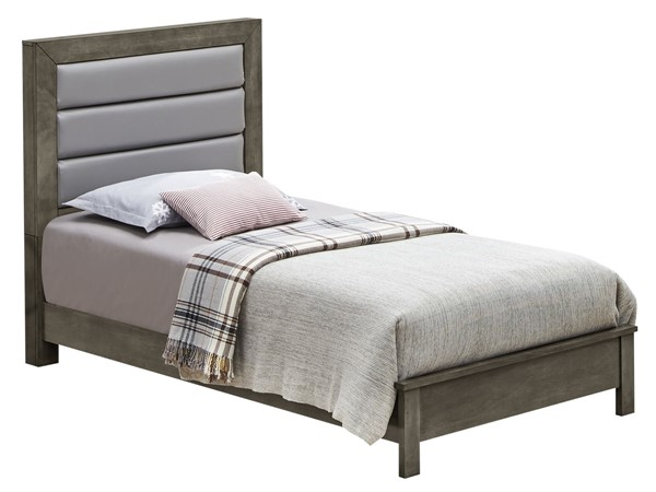 Glory Furniture Burlington Transitional Gray Twin Bed with Padded Headboard GLRY-G2405A-TB