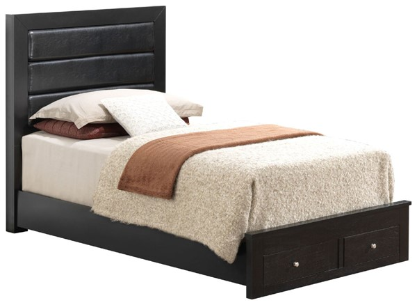 Glory Furniture Burlington Transitional Black Twin Storage Bed with Padded Headboard GLRY-G2450C-TSB