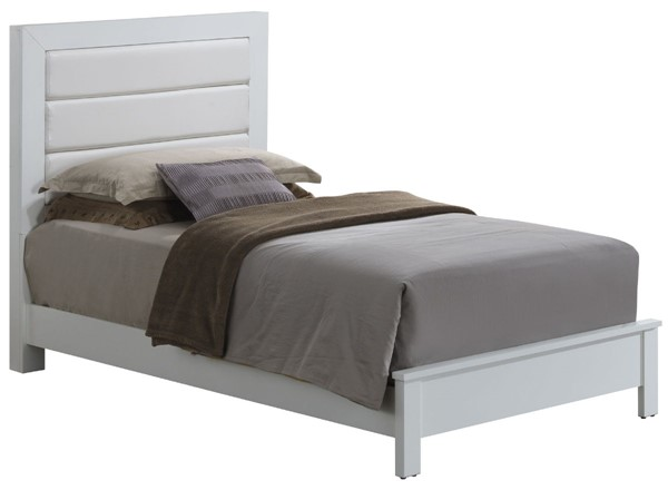 Glory Furniture Burlington Transitional White Twin Bed with Padded Headboard GLRY-G2490A-TB