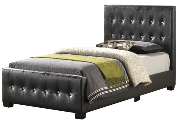Glory Furniture Diamond Black Faux Leather Twin Bed GLRY-G2583-TB-UP