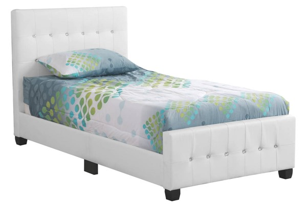 Glory Furniture Diamond White Faux Leather Twin Bed GLRY-G2587-TB-UP